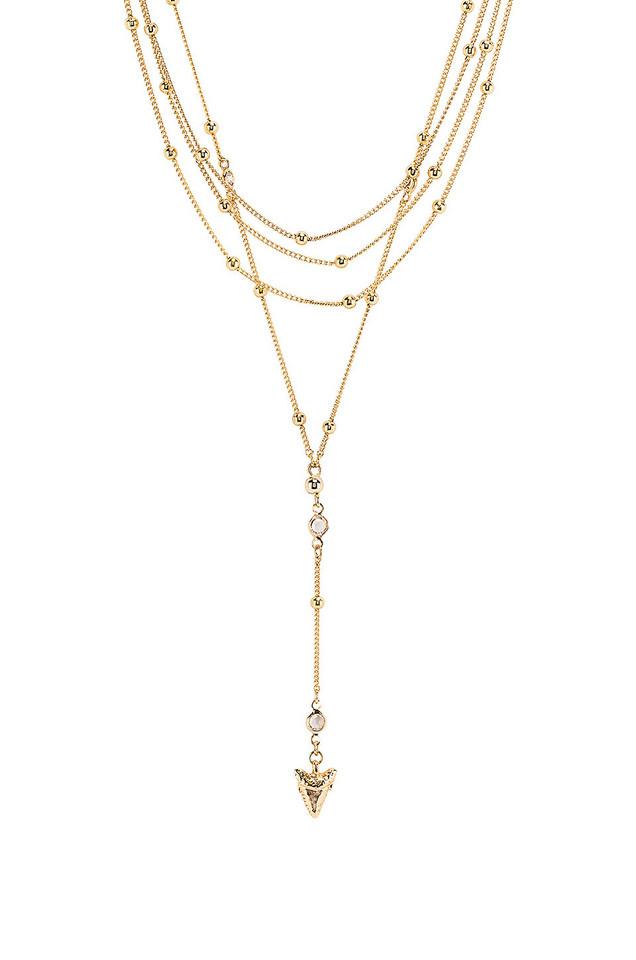 Ettika Layered Shark Tooth Lariat Necklace in gold / metallic