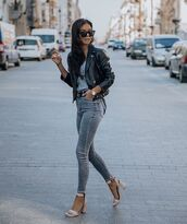 jeans,grey jeans,high waisted jeans,sandal heels,black leather jacket,top