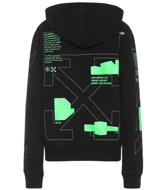 Off-White Printed cotton-jersey hoodie in black