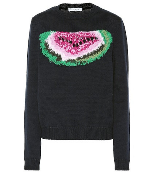 JW Anderson Embroidered watermelon wool sweater in blue