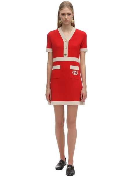 GUCCI Short Sleeve Wool Knit Mini Dress in ivory / red