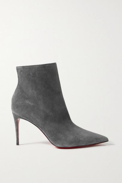 Christian Louboutin - So Kate Booty 85 Suede Ankle Boots - Gray