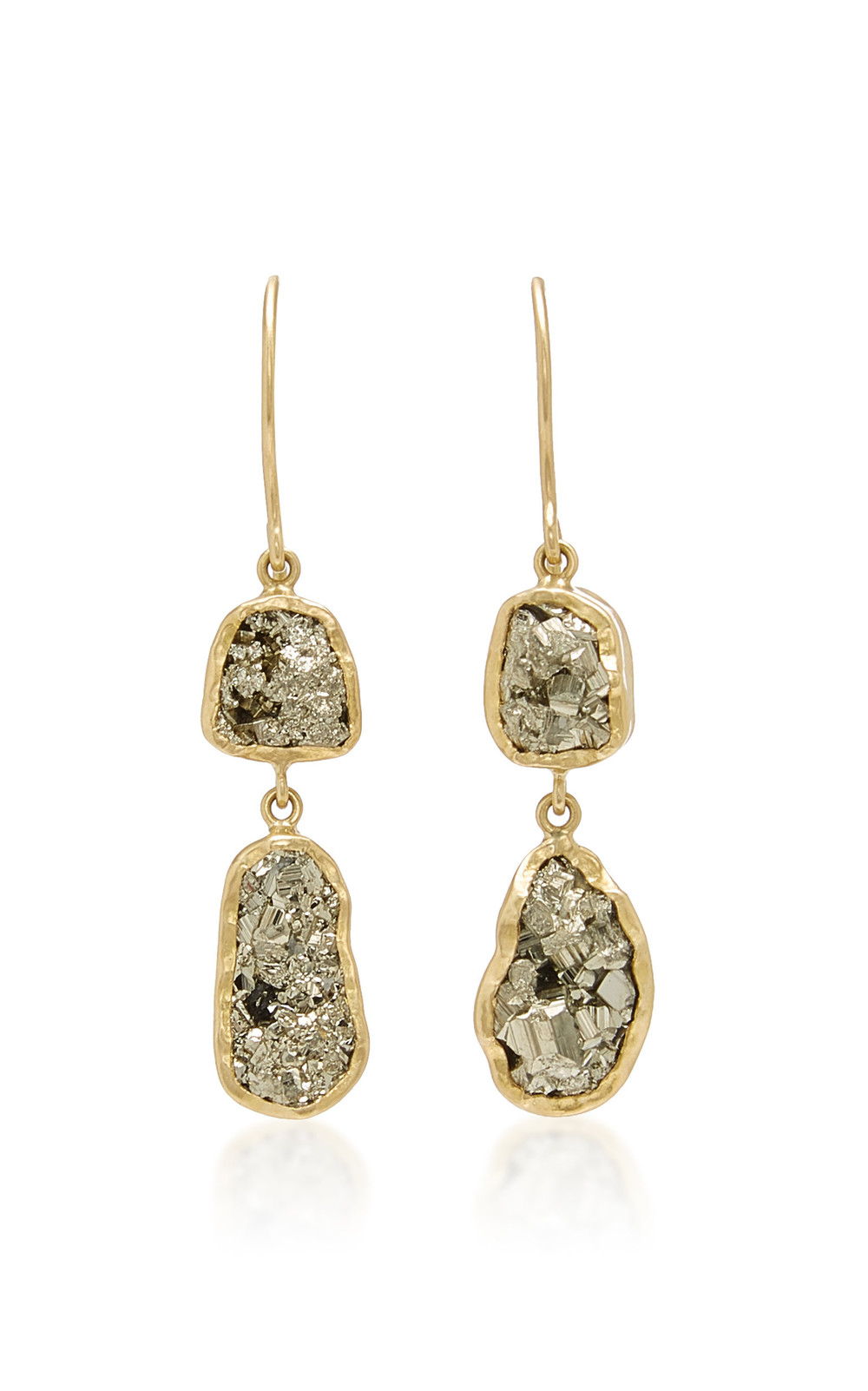 Pippa Small Dazzle Small Double Drop Pyrite Earrings in gold