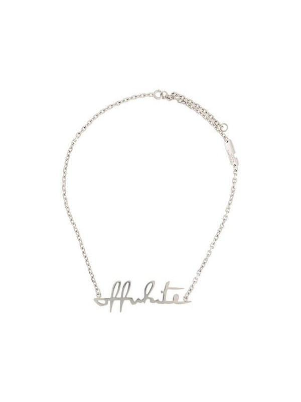Off-White lettering logo necklace in silver