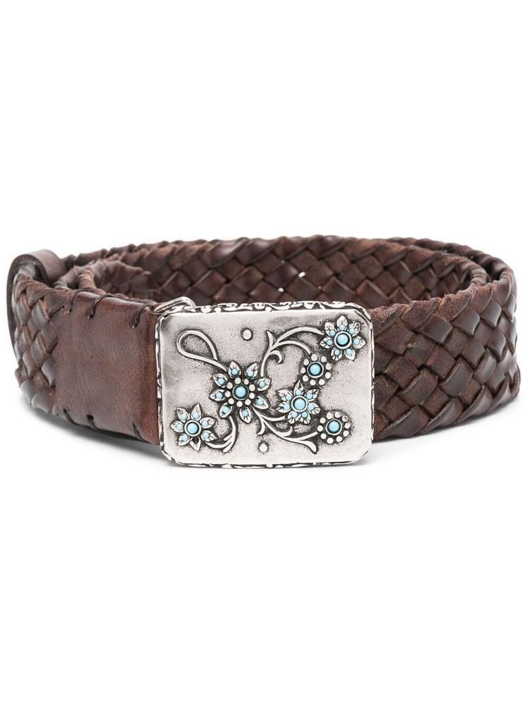 P.A.R.O.S.H. P.A.R.O.S.H. floral buckle braided belt - Brown