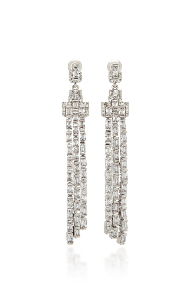 FALLON Fringe Chandelier Drop Earrings in white