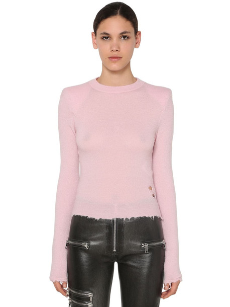 UNRAVEL Padded Shoulders Raw Cut Sweater in pink