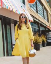 dress,mini dress,long sleeve dress,yellow dress,handbag,basket bag,white sunglasses