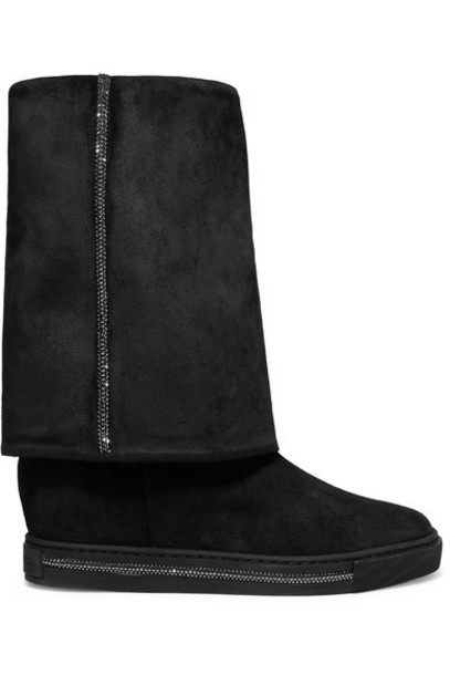 René Caovilla - Crystal-embellished Suede Wedge Boots - Black