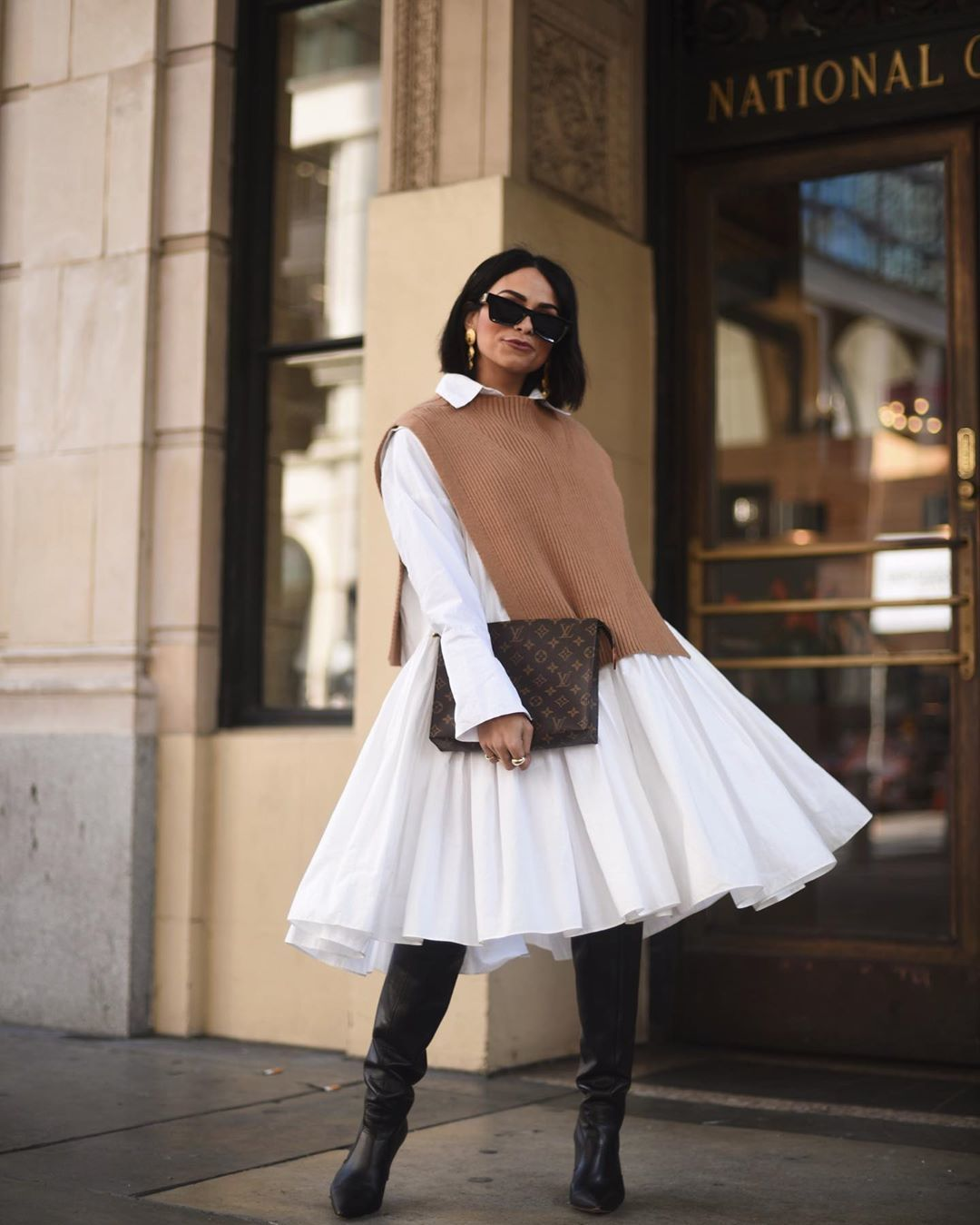 dress shirt dress white dress midi dress knee high boots black boots vest