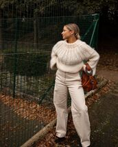 pants,high waisted pants,wide-leg pants,knitted sweater,boots,bag