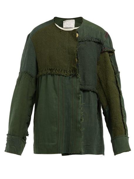 By Walid - Maya Panelled Linen Canvas Jacket - Womens - Green