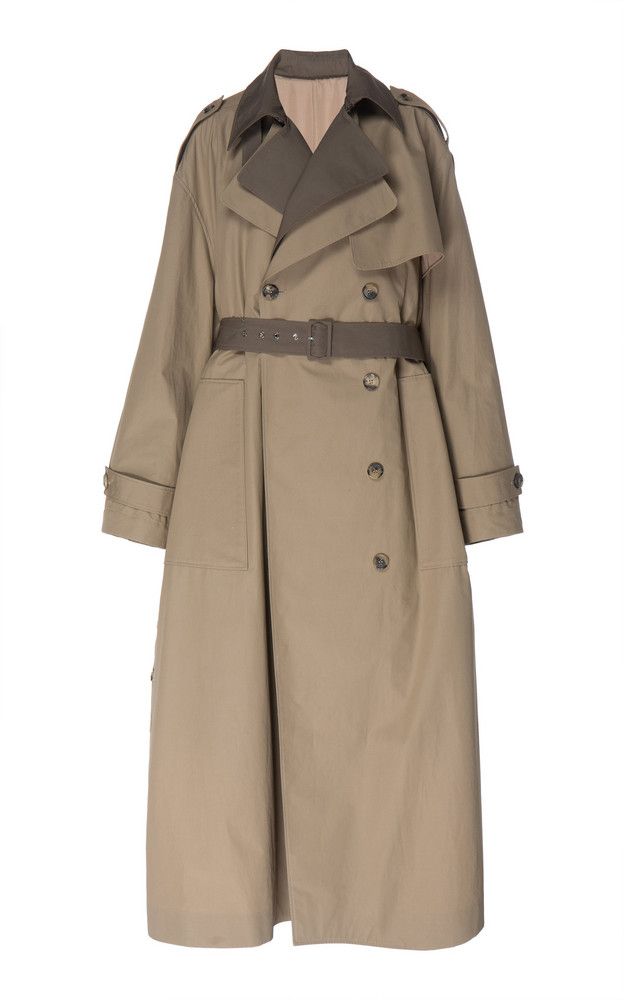 Rokh Double Layer Trench Coat in neutral