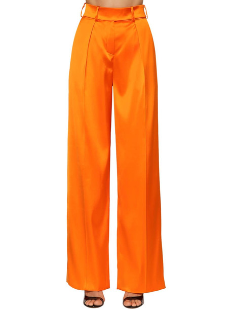 ALEXANDRE VAUTHIER High Waist Stretch Satin Pants in orange