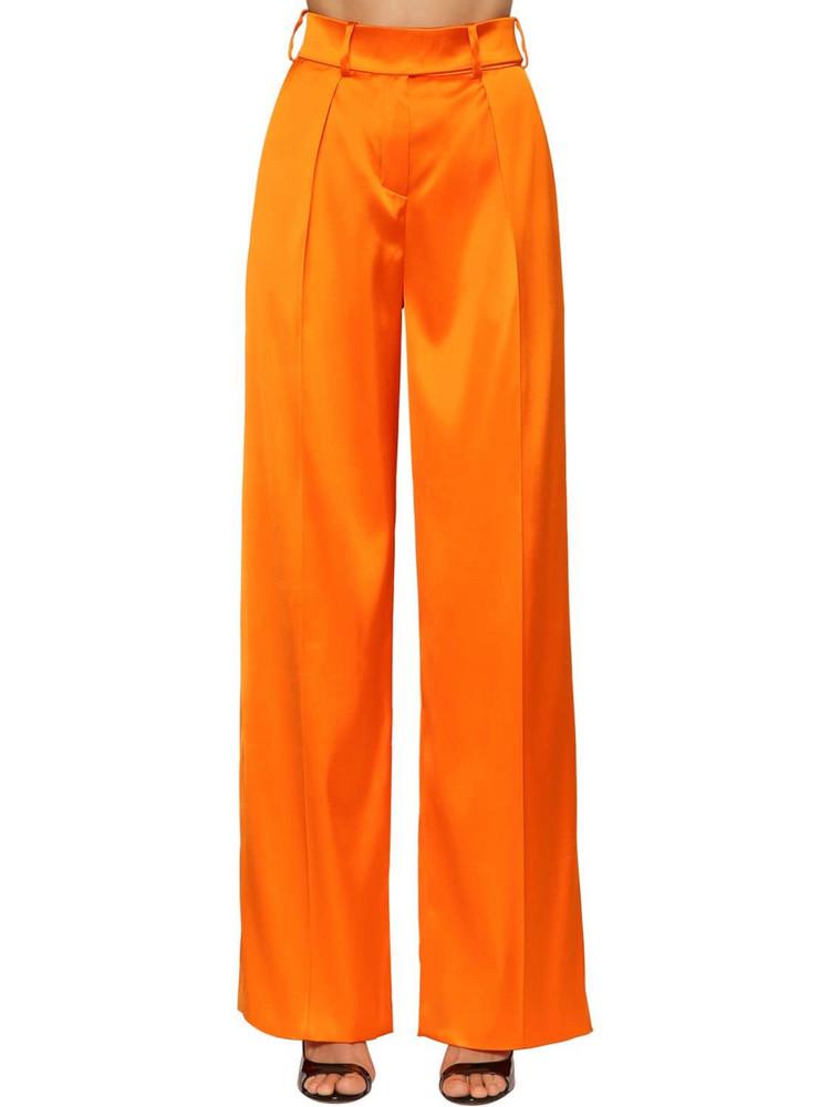 ALEXANDRE VAUTHIER High Waist Stretch Satin Pants in orange