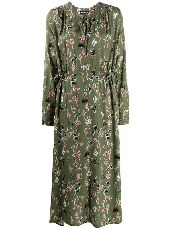 Markus Lupfer Evelyn painters floral and lip print dress in green