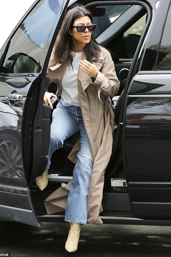 coat jeans denim celebrity trench coat kourtney kardashian kardashians streetstyle spring outfits