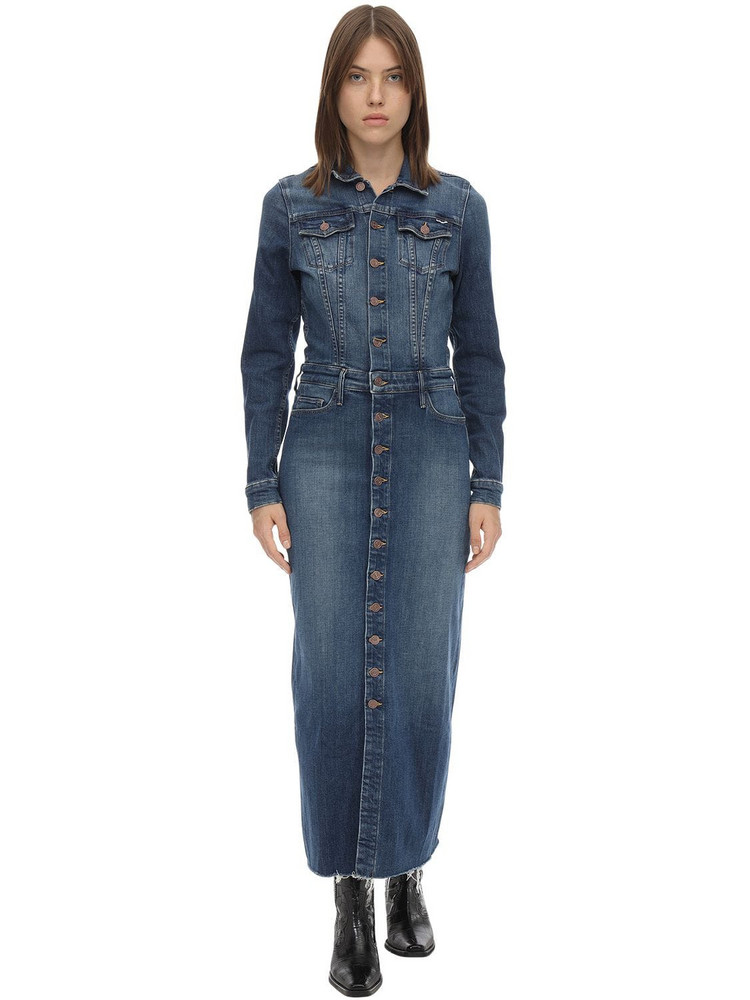 MOTHER The Cover Up Cotton Denim Midi Dress in blue