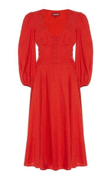 Staud Birdie Linen-Blend Jersey Midi Dress Size: 2 in red