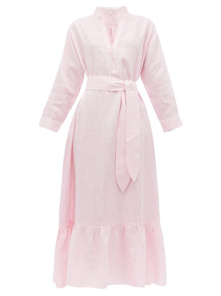 Wiggy Kit - Nehru Ruffle Linen Dress - Womens - Pink