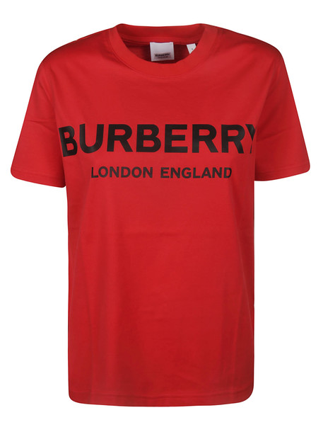 Burberry Round Neck Logo T-shirt in red
