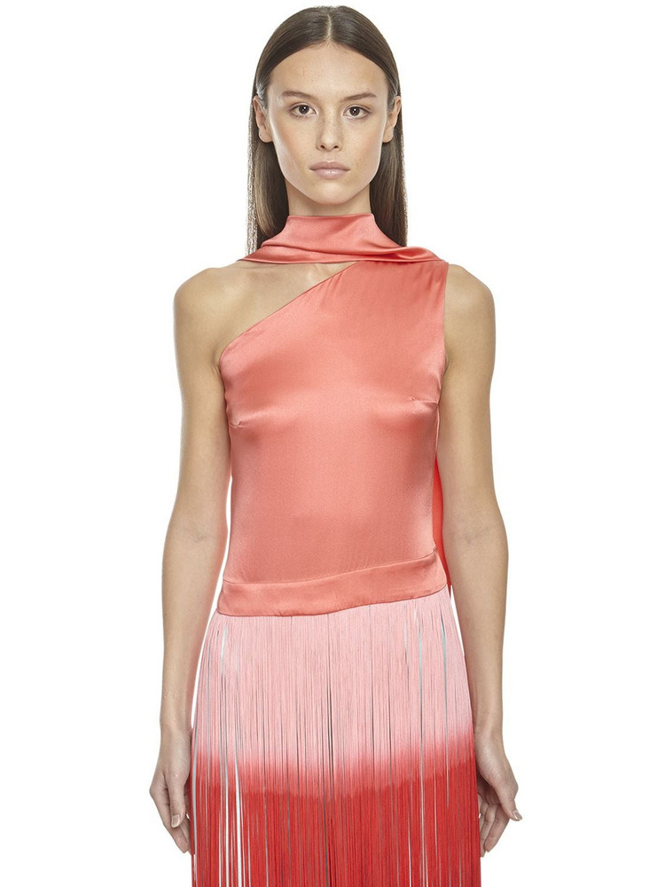 TALLER MARMO Silk Top W/ Two Tone Fringes in orange
