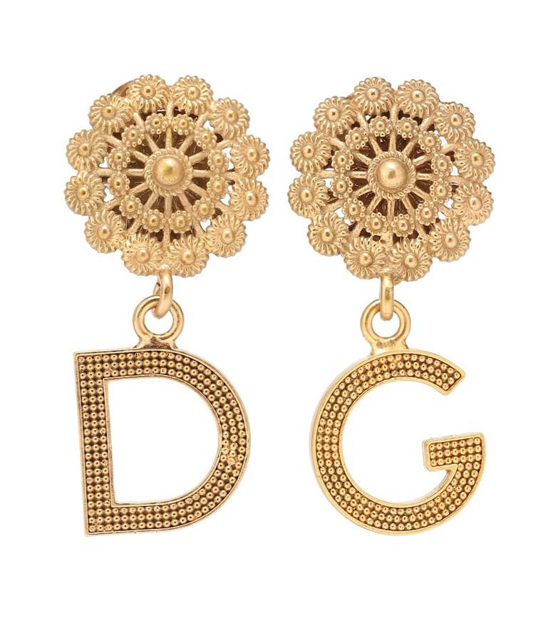 Dolce & Gabbana Logo clip on earrings in gold
