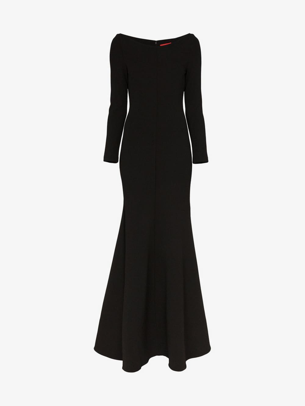 Solace London Perrine long-sleeved flared maxi dress in black