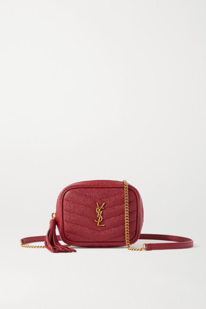 SAINT LAURENT - Lou Baby Textured-leather Shoulder Bag in red