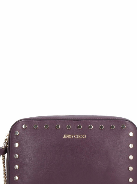 Jimmy Choo Queen Leather Studded Shoulder Bag in purple