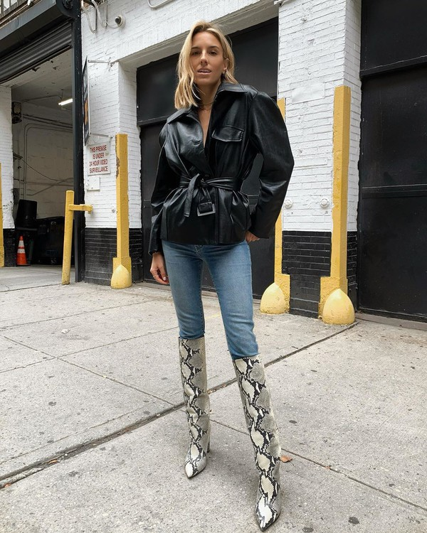 shoes knee high boots snake print skinny jeans black leather jacket