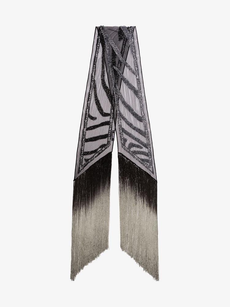 Rockins sequin zebra tassel scarf in black