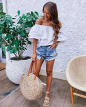 top,white top,off the shoulder,denim shorts,High waisted shorts,platform sandals,maxi bag