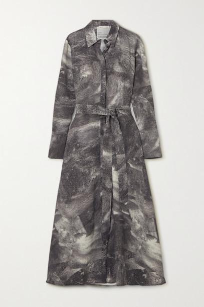 BITE Studios - Belted Printed Crepe De Chine Shirt Dress - Anthracite
