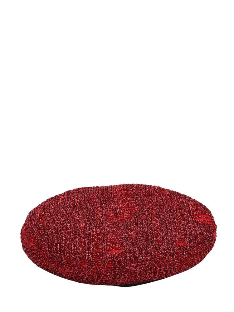 EUGENIA KIM Cher Metallic Knit Beret in red