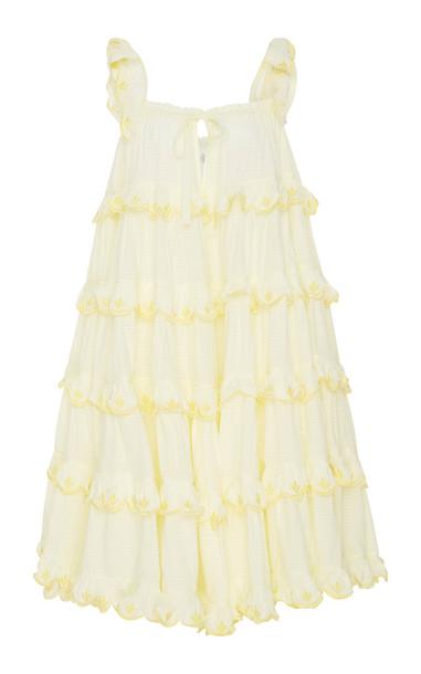 Innika Choo Scalloped Cotton Ruffle Mini Dress in yellow