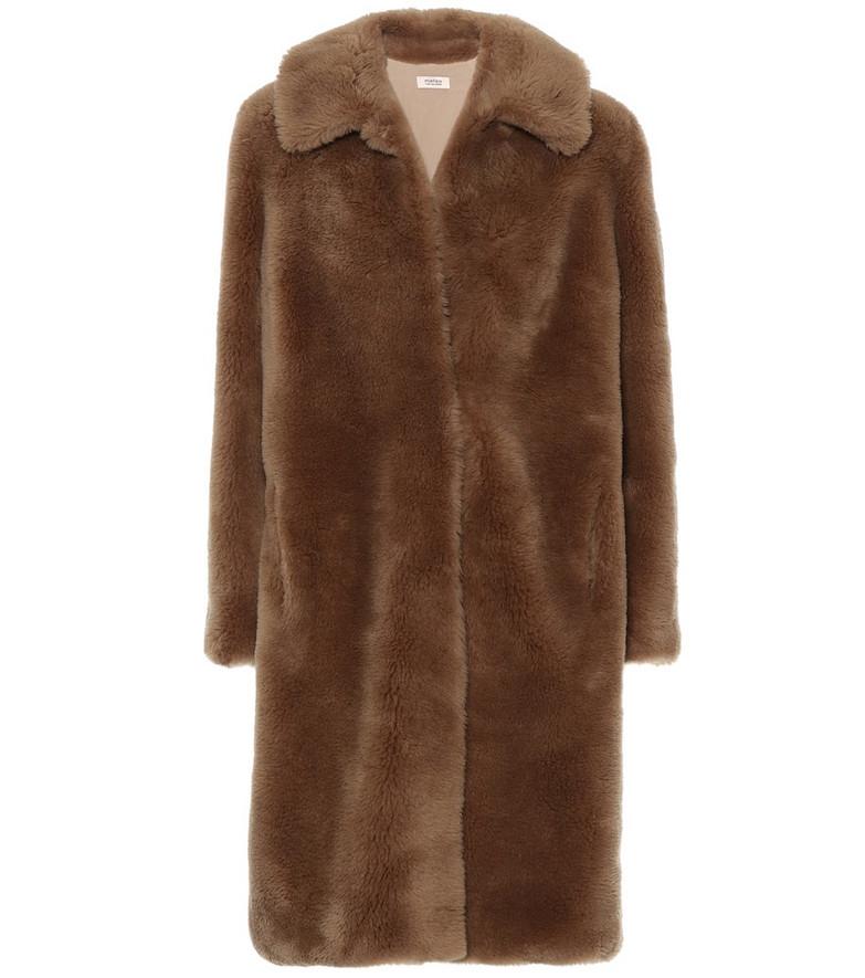 Yves Salomon Wool coat in brown
