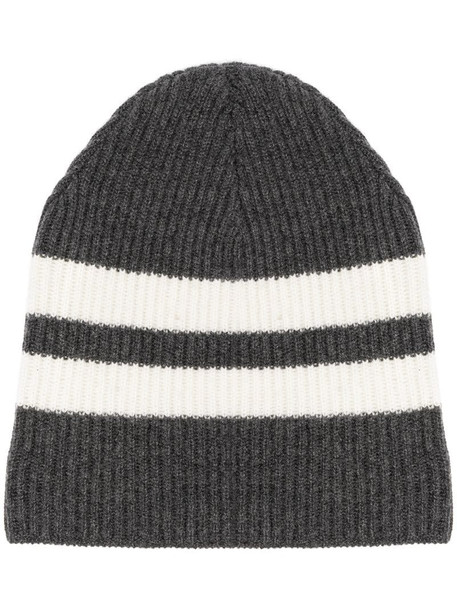 Cashmere In Love striped ribbed-knit beanie in grey