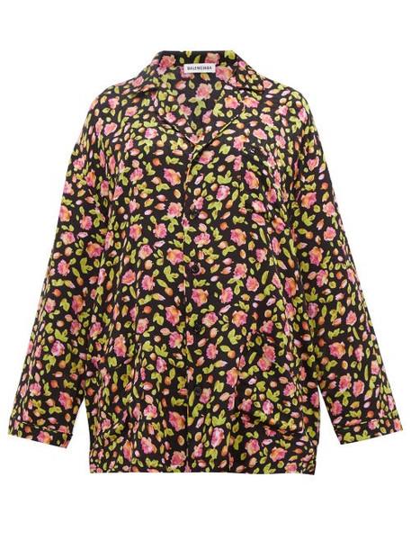 Balenciaga - Oversized Rose Jacquard Silk Shirt - Womens - Black Multi