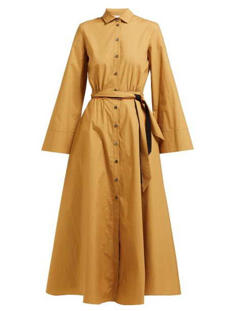 On The Island - Ikaria Flared Cotton Shirtdress - Womens - Khaki