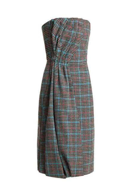 Prada - Strapless Houndstooth Wool Blend Dress - Womens - Grey Multi