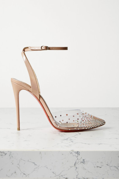 Christian Louboutin - Spika Queen 100 Crystal-embellished Pvc And Leather Pumps - Beige