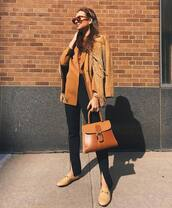 bag,brown bag,loafers,black pants,slit pants,high waisted pants,blazer,suede jacket,fringes,top