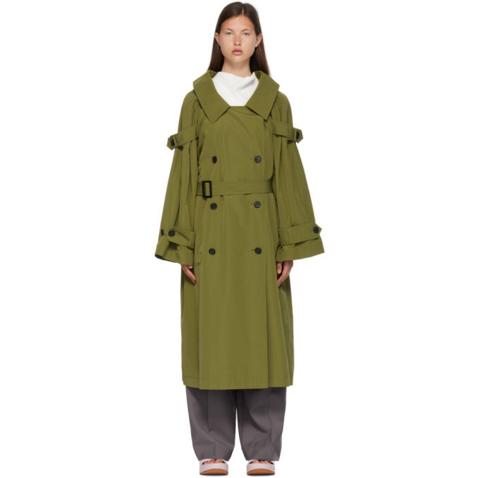 Nina Ricci Khaki Belted Double-Breasted Trench Coat in green