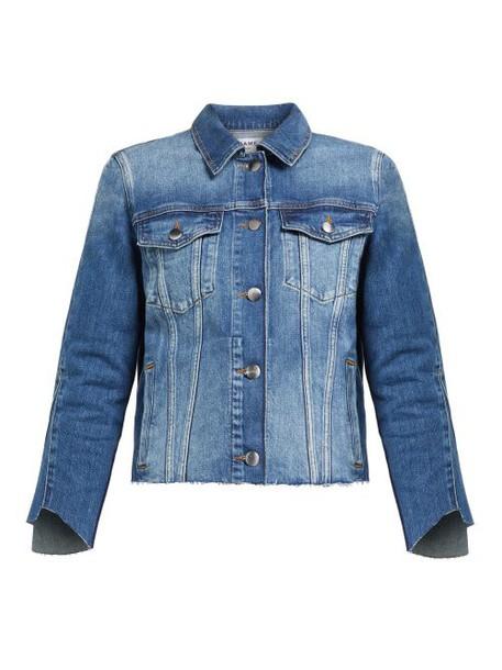 Frame - Le Jacket Raw Edged Denim Jacket - Womens - Dark Denim