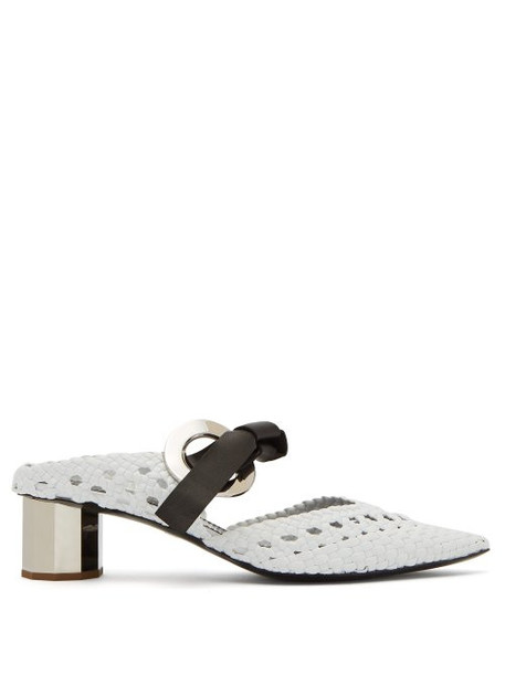 Proenza Schouler - Woven Front Tie Leather Mules - Womens - White