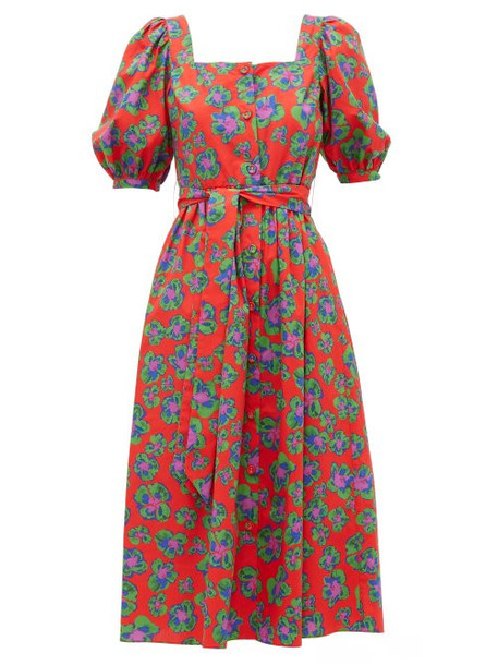 Borgo De Nor - Corin Belted Floral Print Cotton Midi Dress - Womens - Red Print