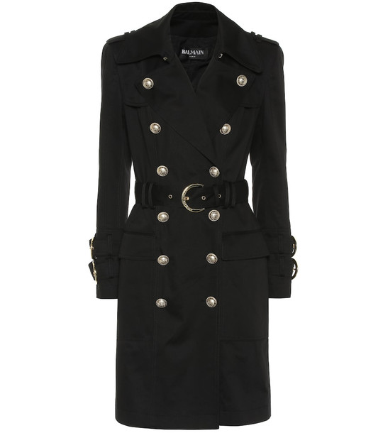 Balmain Cotton-twill trench coat in black