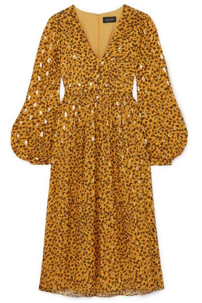 Saloni - Camille Leopard-print Fil Coupé Silk-blend Chiffon Midi Dress - Gold