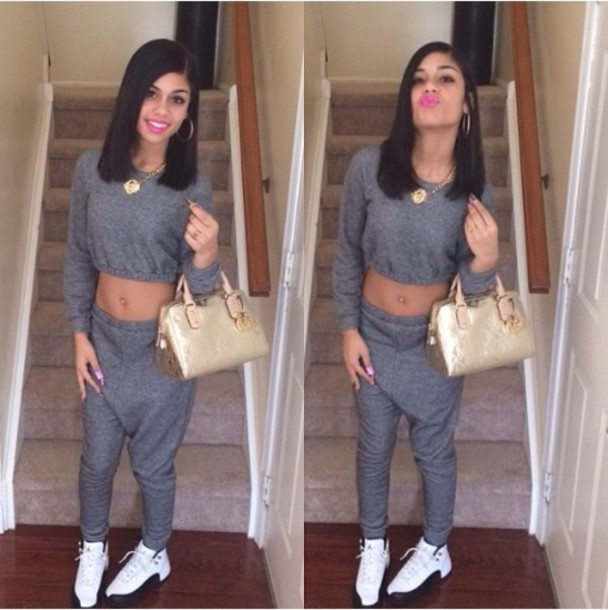 sweater grey two-piece crop pants